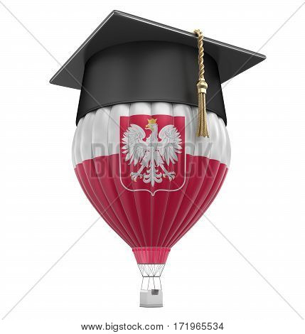 3D Illustration. Hot Air Balloon with Polish Flag and Graduation cap. Image with clipping path
