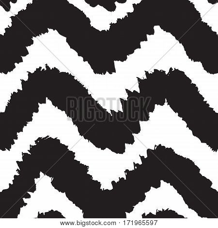 Black and white chevron seamless pattern. Vector hand drawn background