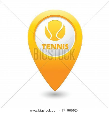 Tennis ball icon on the yellow map pointer