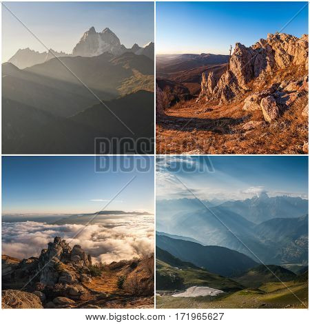 Set Of Landscapes With Mountains