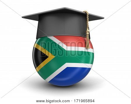 3D Illustration. Graduation cap and flag of South African republic. Image with clipping path
