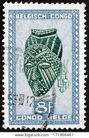 BELGIAN CONGO - CIRCA 1950: a stamp printed in Belgian Congo shows Ngadimuashi female mask Baluba tribe circa 1950