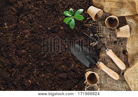 Gardening tools on fertile soil texture background seen from above, top view. Gardening or planting concept. Working in the spring garden.