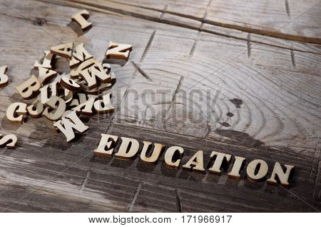 Word Education Made With Wooden Letters