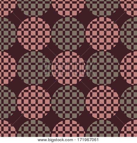 Background vector illustration of seamless pattern of colored circles and squares.