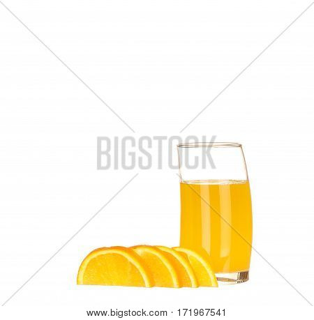 Orange Juice In Highball Glass. Isolated On White Background