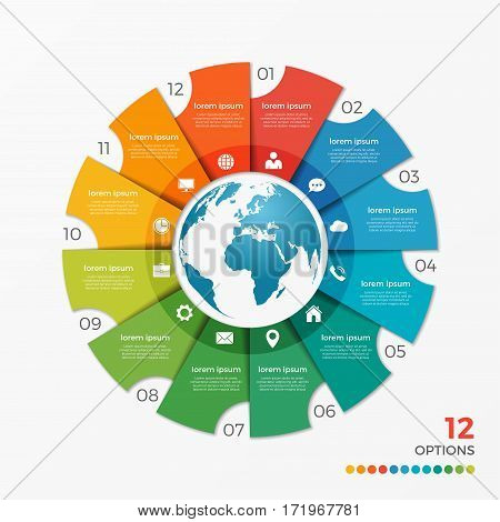 Circle Chart Infographic Template With Globe 12 Options