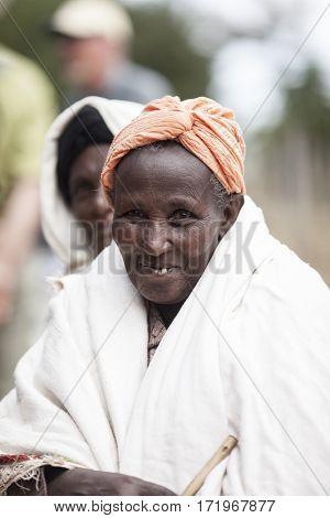 OROMIA, ETHIOPIA-NOVEMBER 3, 2014: Portrait of an unidentified Oromo woman in the highlands of Western Ethiopia.