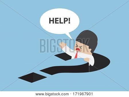 Businessman Falling In Question Mark Hole