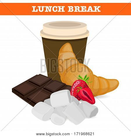 Sweet lunch break. Lunch products. Vector illustration