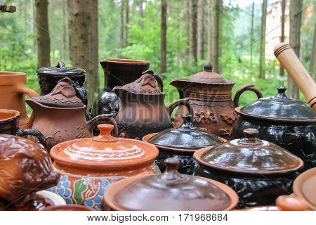 Schodnica Ukraine - June 30 2014: Old style ukrainian souvenir pottery in the market
