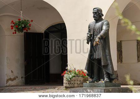 Mukachevo Ukraine - July 2 2014: Monument of Todor Korjatovics (Fedir Koryatovych) in Mukachevo castle