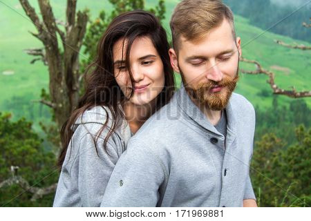 Portrait Happy Smiling Couple In Love, Beautiful Couple Hipsters Embraces In Mountains