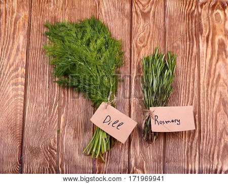 Different fresh herbs on  lidht wooden background
