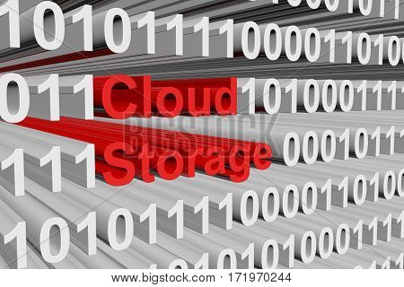 cloud storage is presented in the form of binary code 3d illustration
