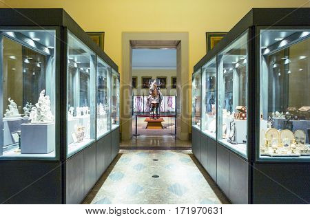 Naples Italy - June 18 2016: The armory hall of the Capodimonte royal palace