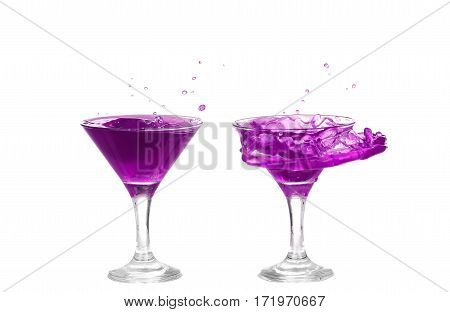 Collage  Purple Cocktail With Splash Isolated On White Background