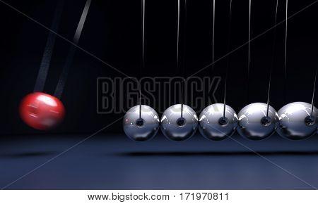 Newtons cradle, pendulum in perpetual motion rendering 3D rendering