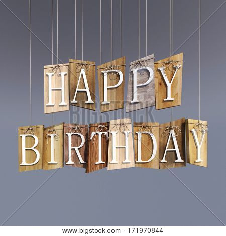 3D rendering of  hanging wooden shapes with raised letters forming the words Happy Birthday