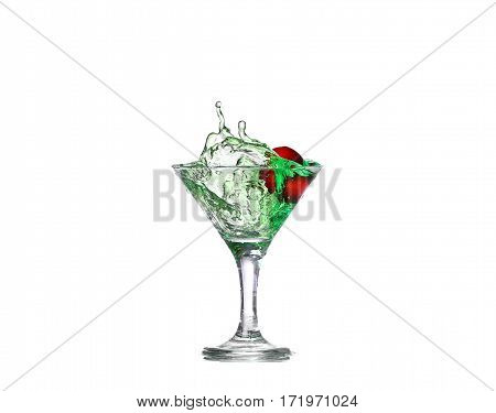 Green Cocktail With  Isolated On White Background