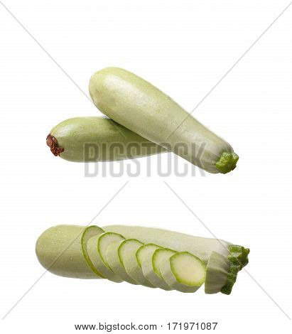 Collage Fresh Vegetable Marrow. Isolated On White