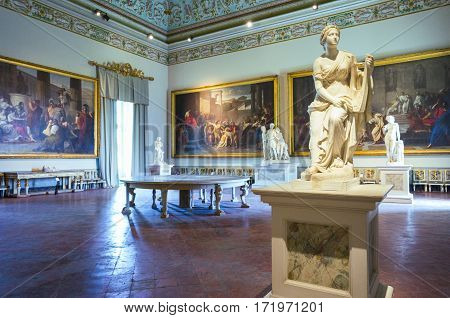 Naples Italy - June 18 2016: The Roman Empire hall of the Capodimonte royal palace