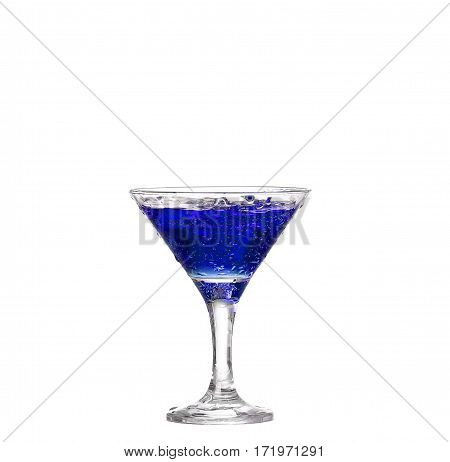 Blue Cocktail With Isolated On White Background