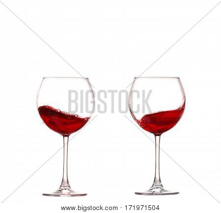 Collage Wine Collection - Splashing Red Wine In A Glass. Isolated On White Background