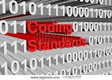 coding standards presented in the form of binary code 3d illustration