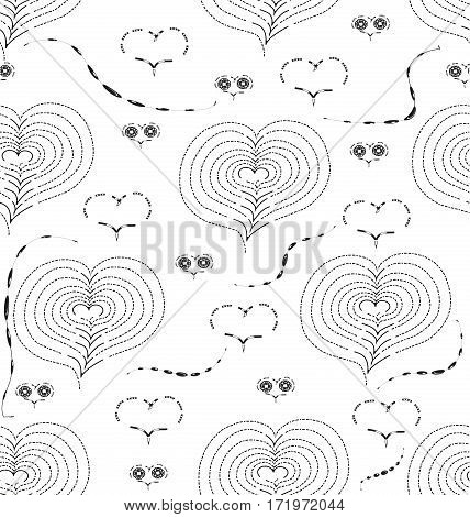 black-and-white seamless pattern with figures in the form of hearts and swirls