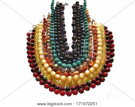 many kinds of beads of natural stones