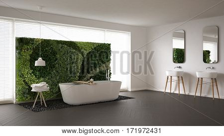 Scandinavian Bathroom With Vertical Garden, White Minimalistic Interior Design