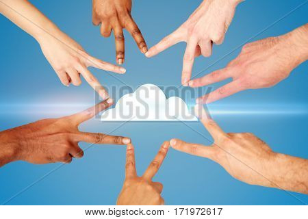computing, tachnology, data and people concept - group of hands showing peace hand sign over blue background with cloud icon