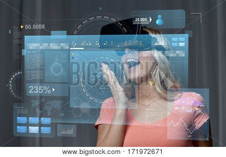 technology, augmented reality, cyberspace, entertainment and people concept - happy amazed young woman with virtual headset or 3d glasses at home and screen projection