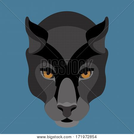 panther face vector illustration style Flat front