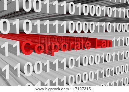 corporate lan is presented in the form of binary code 3d illustration