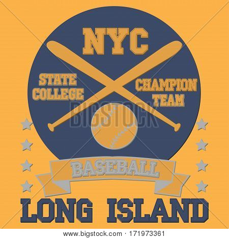 New york Brooklyn sport typography t-shirt baseball long island champion college team - vector