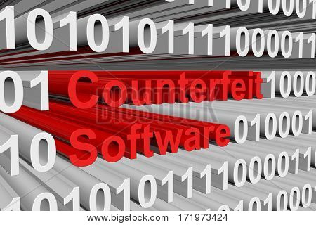 counterfeit software is presented in the form of binary code 3d illustration