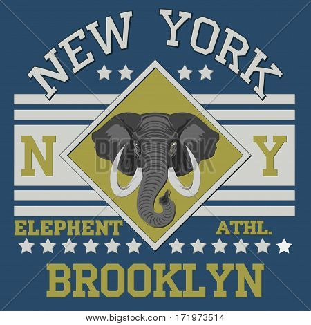 New york Brooklyn sport typography  elephent t-shirt - vector