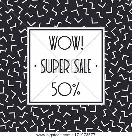 Super sale memphis banner template design for shop. Discount up to 50 percent off. Shop Now. Half price off. Vector sale background. End off season Sale. shopping tag. Store. Illustration poster