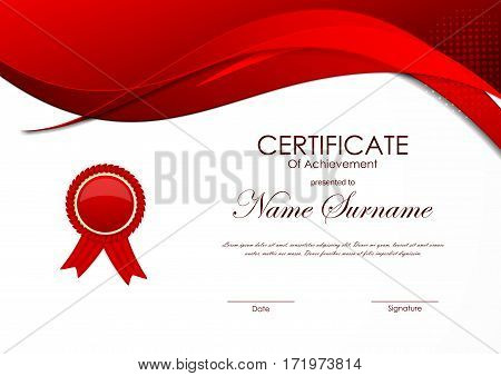 Certificate of achievement template with red wavy curved digital bright background and label. Vector illustration