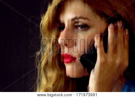 Woman talking on phone. Portrait of sad female behind window with rain. Sad woman's face behind glass with drops. Black background.