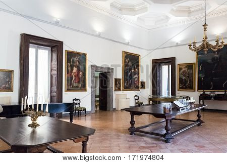 Naples Italy - August 4 2015: Paintings in the halls of the Pio Monte Della Misericordia institution