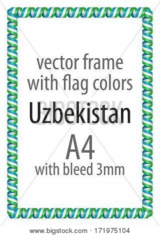 Frame and border of ribbon with the colors of the Uzbekistan flag