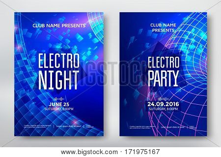 Electro night and electro party poster template design. Music club background. Vector illustration