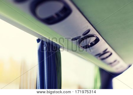 transport, tourism, road trip and equipment concept - close up of travel bus speakers