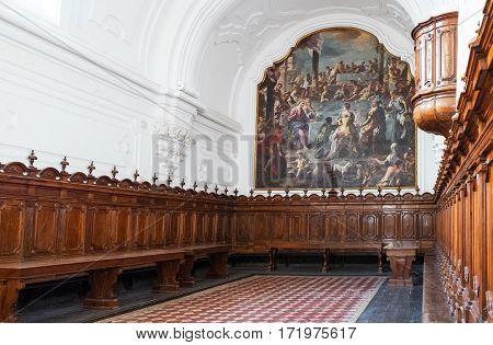 Naples Italy - August 4 2015: Certosa Di San Martino the oratorium.