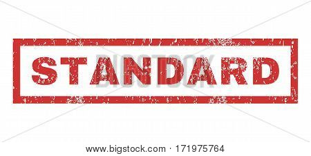 Standard text rubber seal stamp watermark. Tag inside rectangular shape with grunge design and dirty texture. Horizontal vector red ink sign on a white background.