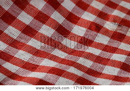 Red and white Gingham cloth details of fabric