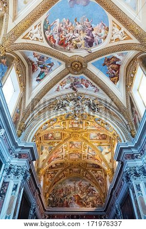 Naples Italy - August 4 2015: The nave ceiling of the Certosa Di San Martino